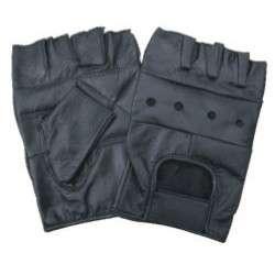 Fingerless 100% Genuine Leather Padded Palm Half Biker Work Gloves