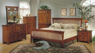 NEW MISSION WARM CHERRY OAK FINISH WOOD QUEEN BEDROOM SET FURNITURE