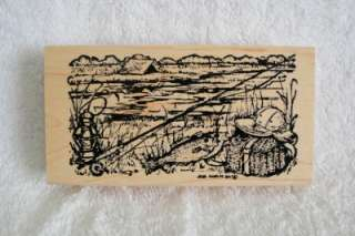 Northwoods rubber stamps fishing camping border tent