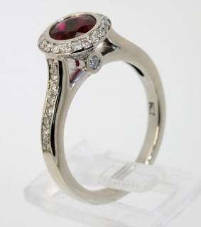 VIVID 1.30CT ROUND RED RUBELLITE DIAMOND 14K WHITE GOLD RING