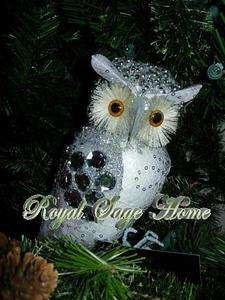 26271 9 Faux Jeweled Owl Silver White Gray Christmas Ornament