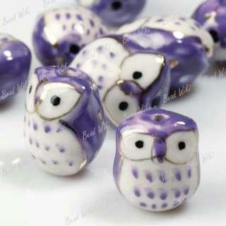 10 Purple Animal Owl Charm Ceramic Porcelain Bead PB012