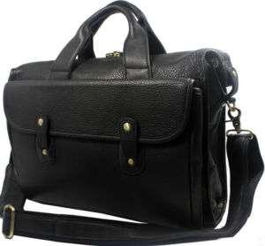 Large Black Leather Messenger Laptop Bag Briefcase Tote