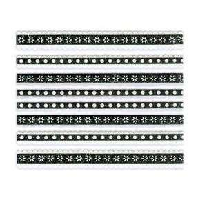 Glitter White & Black Flower/Dot Lace Strip Nail Stickers/Decals
