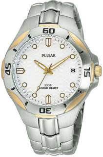 Silver Tone PULSAR Mens New Bracelet Watch Date |