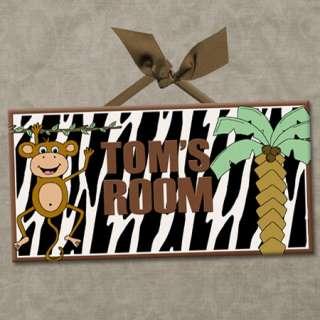 Room Door Sign MONKEY BUSINESS   ZEBRA STRIPE Cute Wall Decor