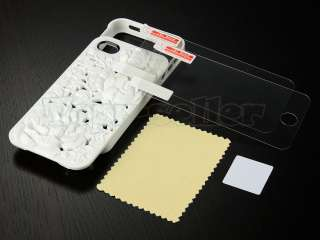 3D Sculpture Design Rose Flower Case Cover for iPhone 4S 4G 4 Free