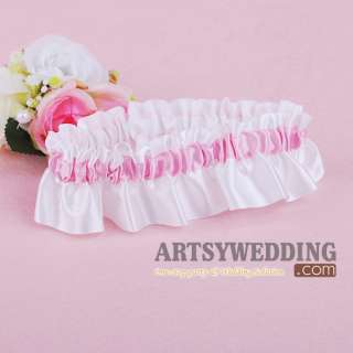 White and Pink Stretch Satin Toss Party Wedding Bridal Garter