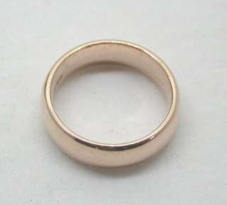 Vintage Heavy 9ct Rose Gold Plain Broad Wedding Ring