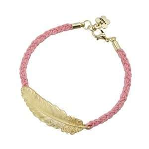 Pink Braided Feather Charm Bracelet   Gold Plated   7inches Jewelry