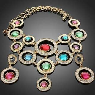 Ladies vogue color circle earrings necklace Jewelry set 18K GP