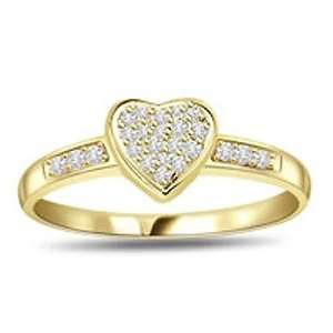 0.38 Cts Diamond Heart Shape Ring in 18k Gold Jewelry