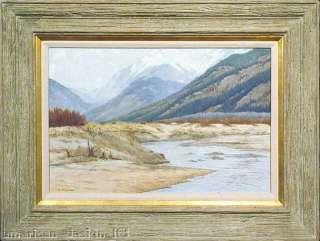 River, Original oil Painting Western mountain Art Artwork OBO