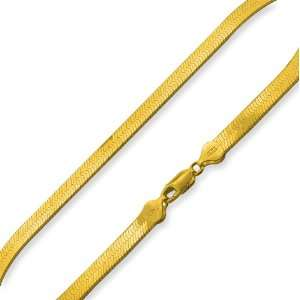 14K Gold Plated Silver 22 Herringbone Chain Necklace 7mm Jewelry