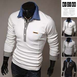 BOKNAM Mens Slim Fit Long Sleeve Polo Casual Tee T shirts NVI041CUS 3