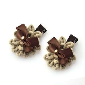 Knitted Tan Yarn Flower Hair Clips with Bow [Pair] Beauty