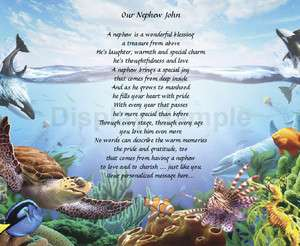 Poem For Nephew Birthday Or Christmas Gift Under The Sea Print