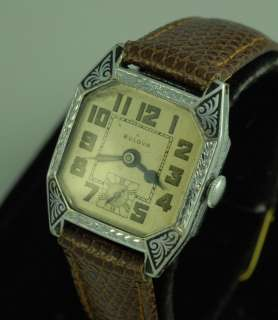VINTAGE ART DECO BULOVA MENS WRIST WATCH – BLACK ENAMEL BEZEL DOUBLE