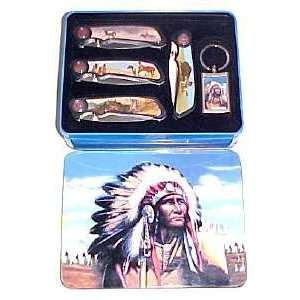 The Native American Indian 5 Piece Collector PocketKnife
