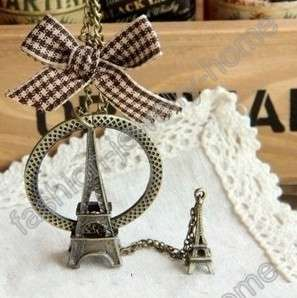 fashion retro bronze bowknow tower Necklaces Pendant