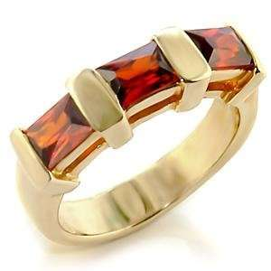 Size 9 Garnet Cubic Zirconia Brass Gold Plated Ring AM