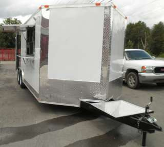 NEW 8 X 20 CONCESSION BBQ ENCLOSED SMOKER FOOD TRAILER WHITE IN COLOR