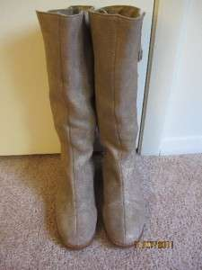 MINT Jimmy Choo Gold Lame Rabbit Fur Lined Knee High Leather Boots 38