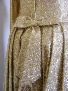 vtg 50s 60s Gold TINSEL Couture BUTTERFLY Party PROM Dress M Anns