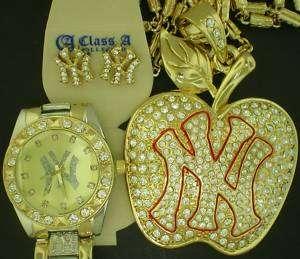 NEW YORK YANKEE GOLD APPLE CZ CHARM+EARRING+GOLD WATCH