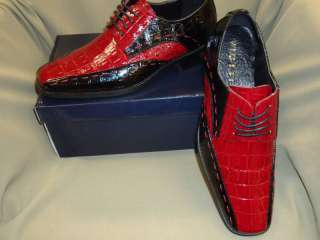 New Mens Black & Red Stitch Croc Look Dress Shoes