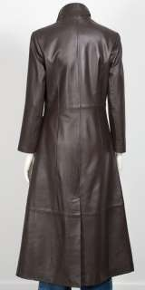 Womens Leather Full Length Matrix Coat Black or Brown