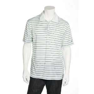 Nike Golf White Striped Short Sleeve Golf Polo Sports