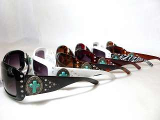 Montana West COWGIRL BLING Western Sunglasses, TURQUOISE CROSS