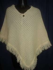 VTG Groovy Tan Crochet Poncho Cape Handmade Retro Womens Funky 1S16