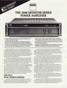 NAD 2600 Monitor Series Power Amp Brochure