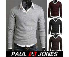 Luxury PJ Mens Fashion Slim Fit V neck Knit sweater Nwt py0
