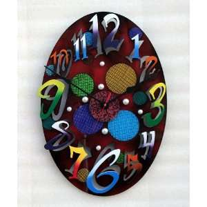David Scherer Small Modern Oval Red Wall Clock Home