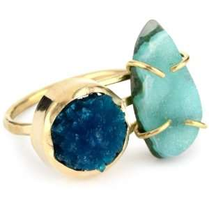 Joy Manning Neptune 14k Gold Chrysacolla and Cavancite Ring, Size 7