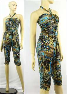 New Printed Summer Capri Jumpsuit Halter Romper Blue