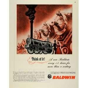 1945 Ad Baldwin Locomoive Works rain Engineering WWII