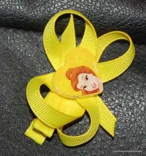 Hand Sewn Girls Disney Princess Belle Hair Bows 2 NWT