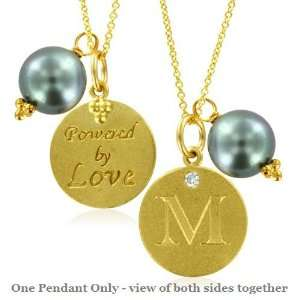Natural Diamond Initial M, LOVE LETTERS Pendant Pearl Charm in 18k