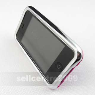 Hot Pink Hard Rubber Case Cover For iPhone 3G 3GS Stand