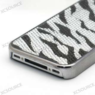 For iPhone 4S 4G 4GS Hard Case Cover ZEBRA BLING SILVER BLACK
