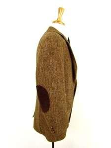 vintage mens brown herringbone HARRIS TWEED jacket blazer sport coat