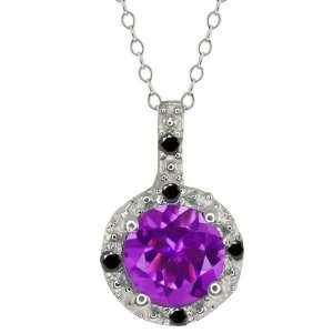 0.48 Ct Round Purple Amethyst and Black Diamond 14k White