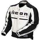 Icon Mens Motorhead Leather Motorcycle Jacket White/Bla
