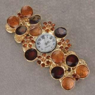 Ladies 18k GP Gold Plated Luxury Enamel Flower Wrist Bracelet Bangle
