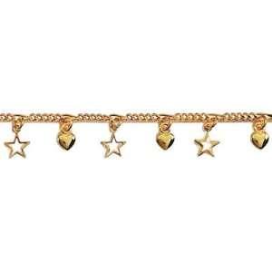 Ladies 18K Gold Plated Heart & Star Pendants 18 cm Chain