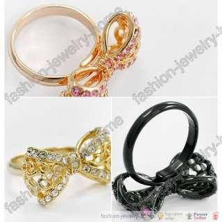 Fashion Dazzling Crystal Beautiful Bowknot Ring Sweet
